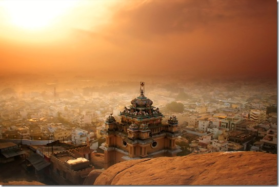 Rockfort Temple at Trichy at Sunrise